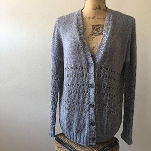 VINCE Gray Knitted by Hand V Neck Cardigan- EBay